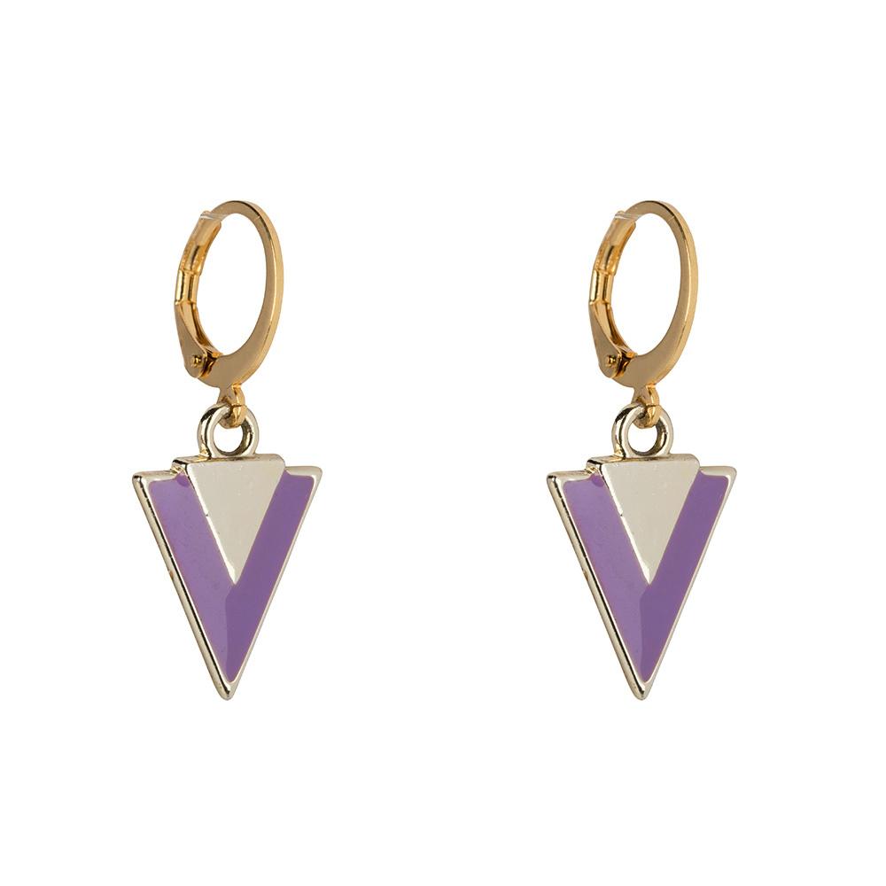 Oorbellen - Little triangle lilac-1