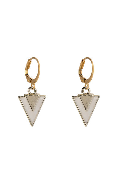 Oorbellen - Little triangle white