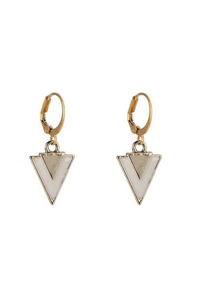 Oorbellen - Little triangle white