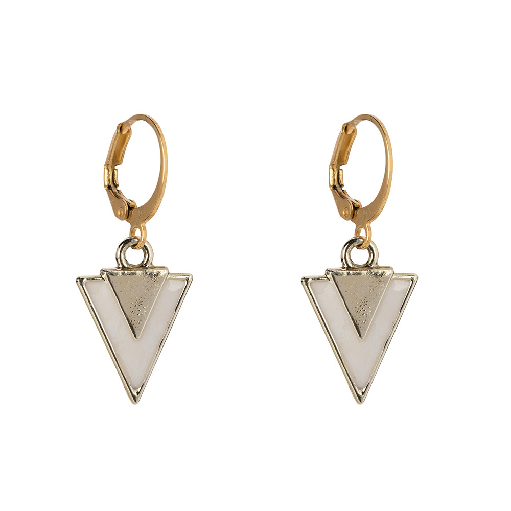 Oorbellen - Little triangle white-1