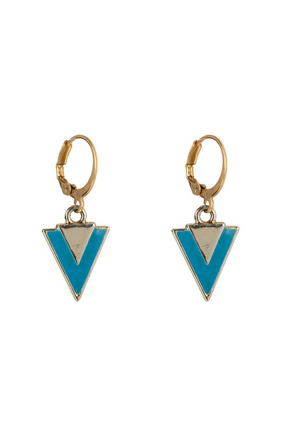 Oorbellen - Little triangle blue