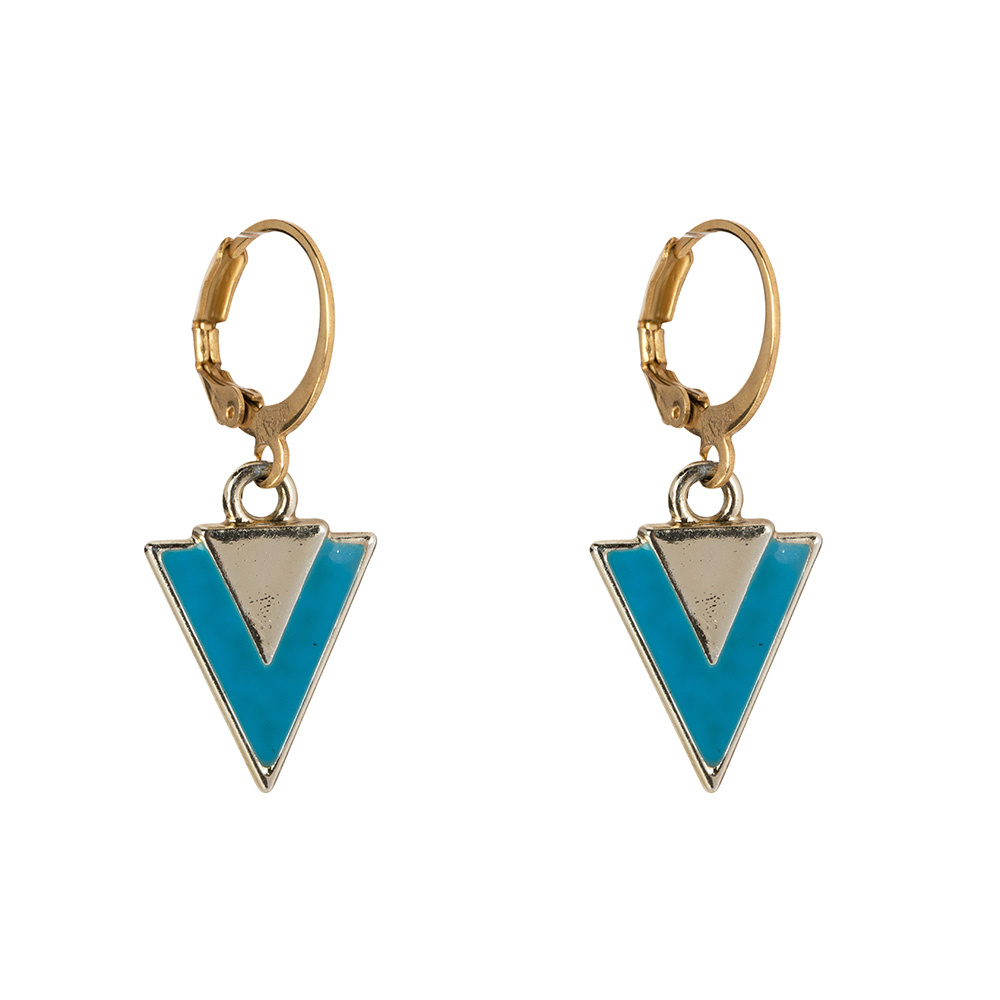 Oorbellen - Little triangle blue-1