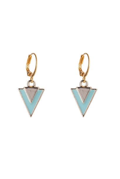 Oorbellen - Little triangle turquoise