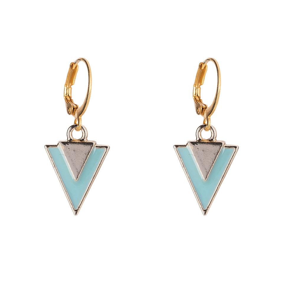 Oorbellen - Little triangle turquoise-1