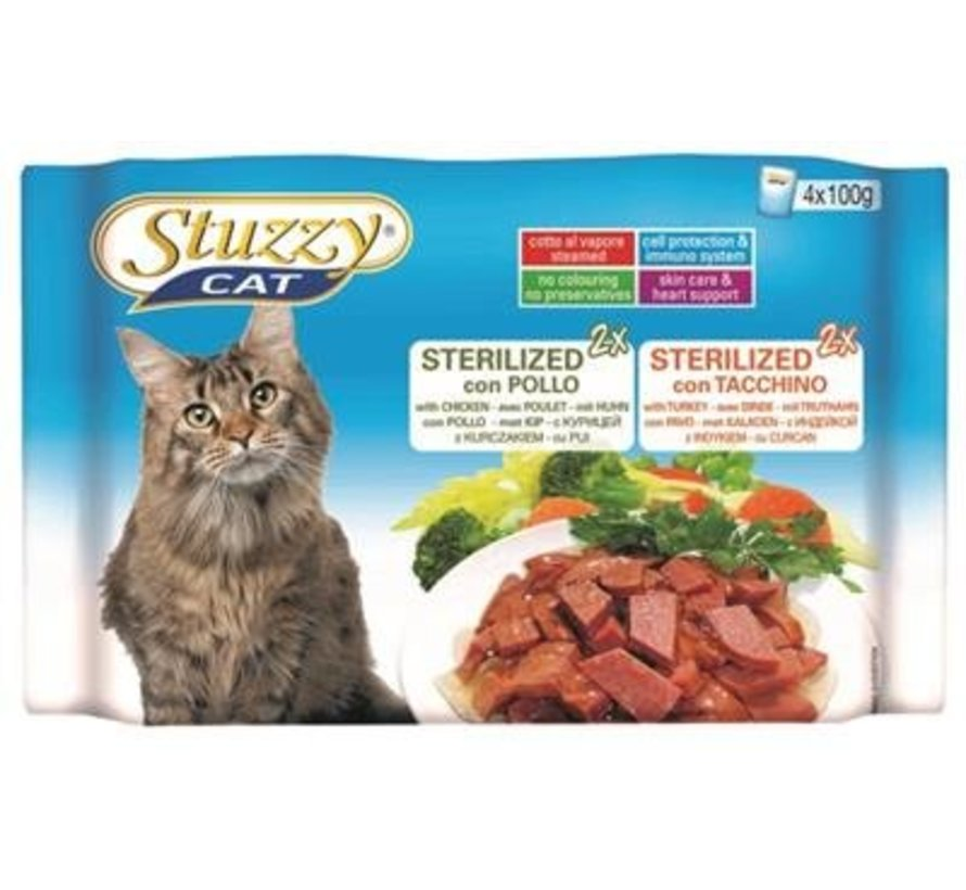 Stuzzy Cat Kip/kalkoen 4 x 100 gram