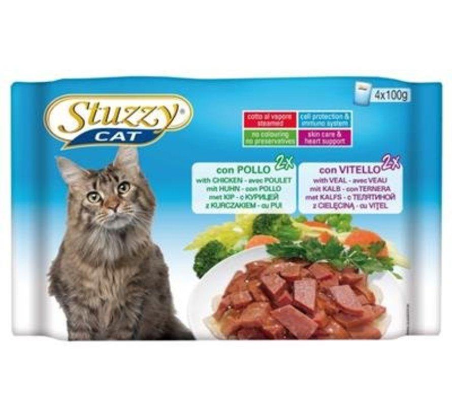 Stuzzy Cat Kip/Kalf 4 x 100 gram