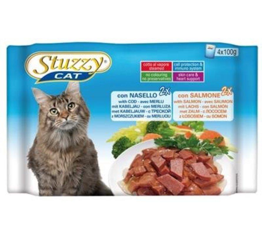 Stuzzy Cat Kabeljauw/Zalm 4 x 100 gram