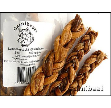 Carnibest Carnibest Vleessticks Lam gevlochten 100 gram
