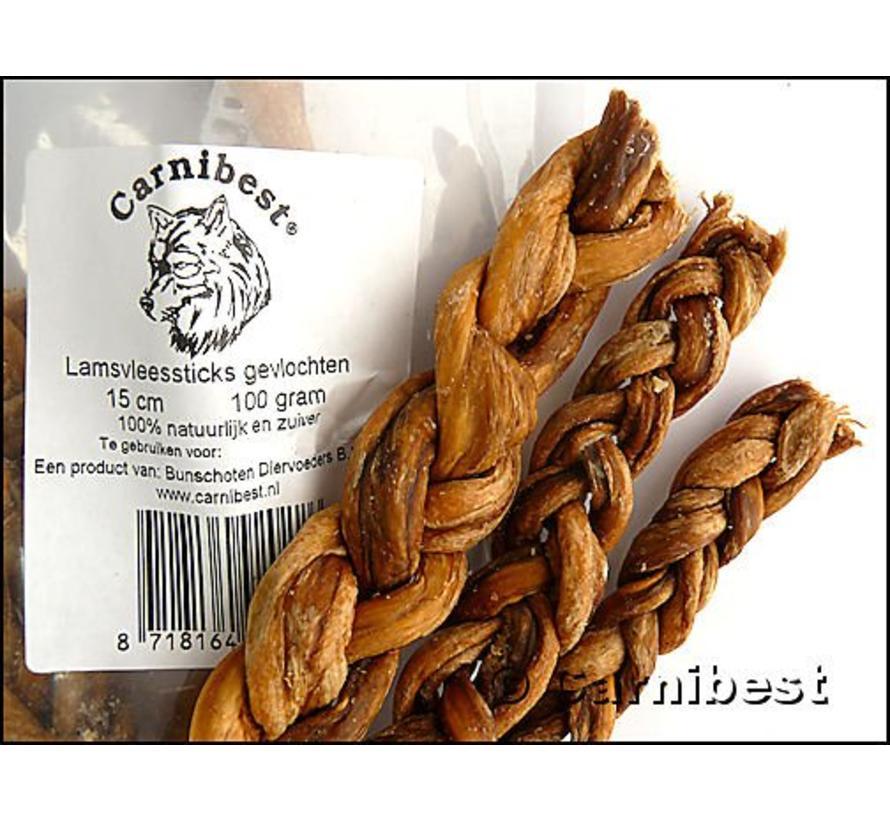 Carnibest Vleessticks Lam gevlochten 100 gram