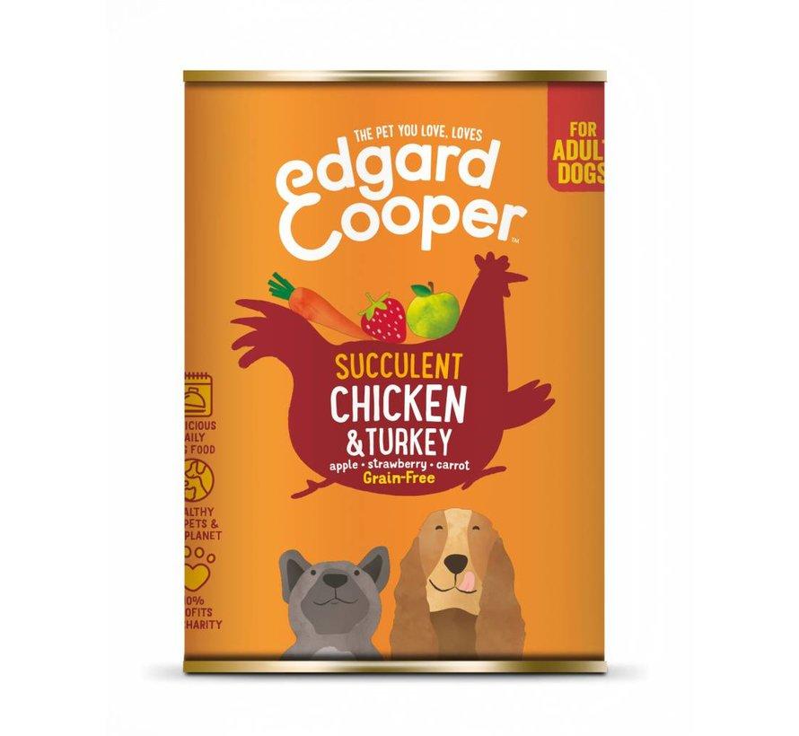 Edgard & Cooper Blik Kip & Kalkoen 400gr