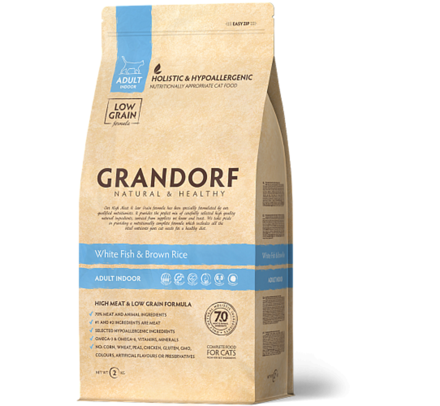 Grandorf Cat Witte Vis & Bruine Rijst Adult 400gr