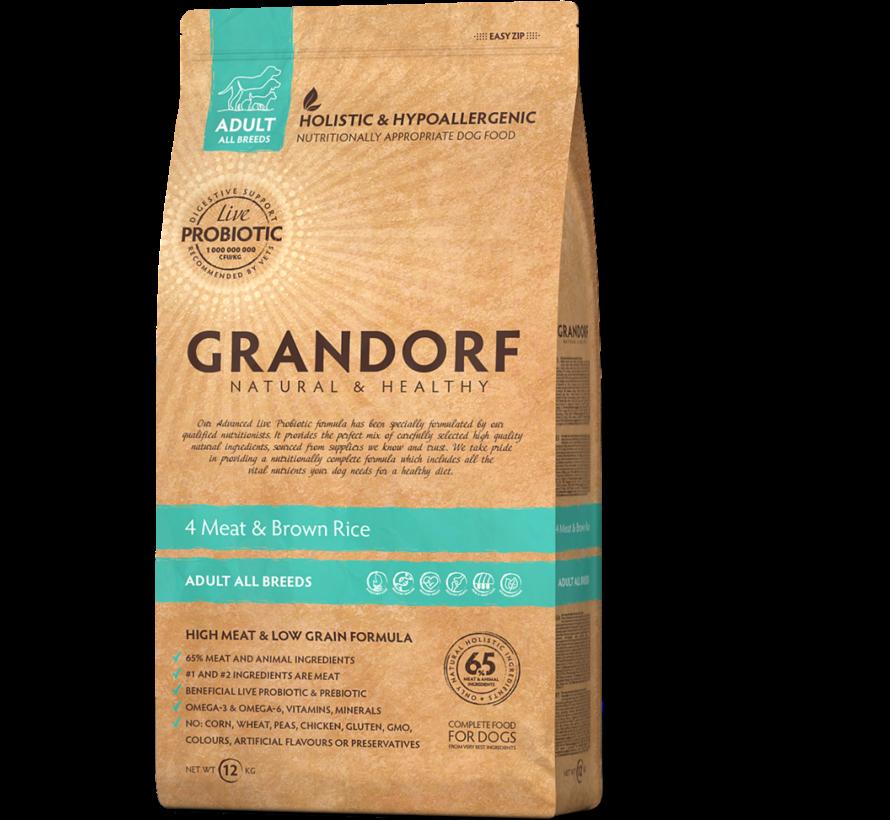 Grandorf 4 Meat & Bruine Rijst Adult 12kg