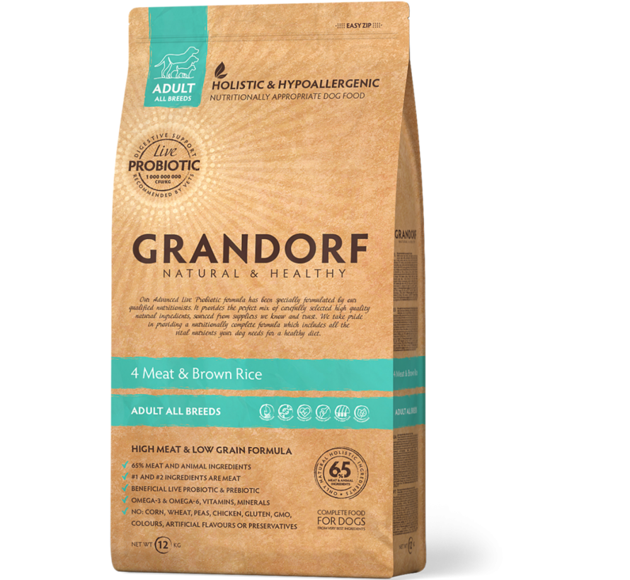 Grandorf 4 Meat & Bruine Rijst Adult 3kg