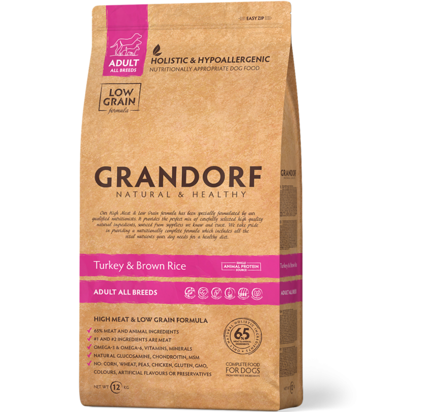 Grandorf Kalkoen & Bruine rijst Adult 3kg