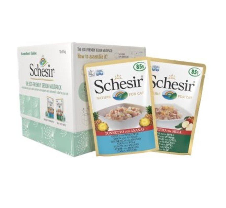 Schesir Eco-friendly multipack Tonijn/Ananas & Tonijn/Appel