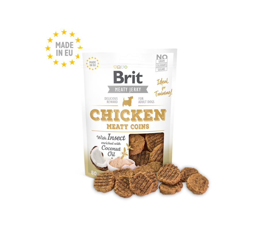 Brit Jerky Chicken/Insect Coins 80gr