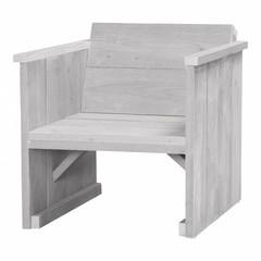 Steigerhouten loungestoel schelpenwit