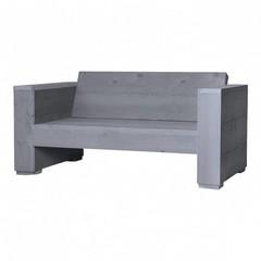 Steigerhouten loungebank massief 2 zits beton grijs