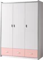 Vipack Bonny 3 deurs kledingkast licht roze