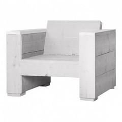 Steigerhouten loungestoel massief schelpenwit