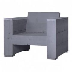 Steigerhouten loungestoel massief beton grijs