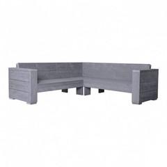 Steigerhouten lounge hoekbank massief beton grijs