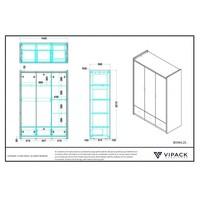 Vipack Bonny 3 deurs kledingkast blauw