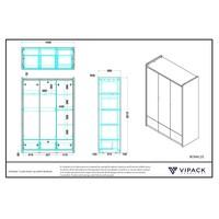Vipack Bonny 3 deurs kledingkast zilver