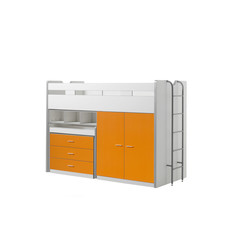 Halfhoogslaper Bonny oranje met bureau