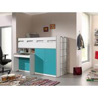 Vipack Halfhoogslaper Bonny turquoise met bureau