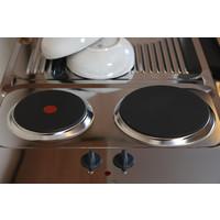 Respekta Mini keuken Levin 100 cm rood met RVS kookplaat