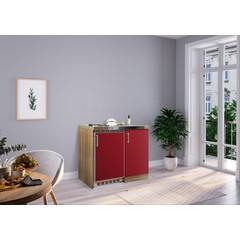 Mini keuken Levin 100 cm rood met RVS kookplaat