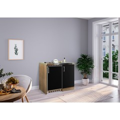 Mini keuken Levin 100 cm zwart met RVS kookplaat