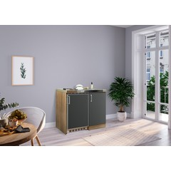 Mini keuken Levin 100 cm grijs met RVS kookplaat
