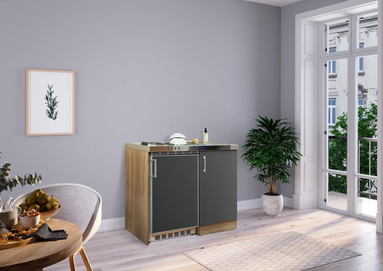 Respekta Mini keuken Levin 100 cm grijs met RVS kookplaat