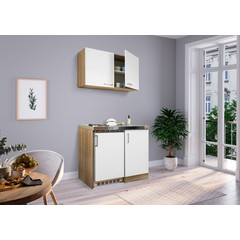 Mini keuken Levin 100 cm wit met RVS kookplaat en hangkast