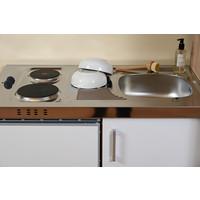 Respekta Mini keuken Levin 100 cm zwart met RVS kookplaat en hangkast