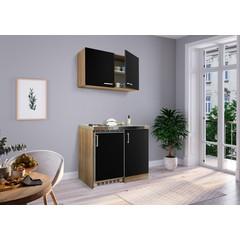 Mini keuken Levin 100 cm zwart met RVS kookplaat en hangkast