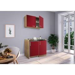 Mini keuken Levin 100 cm rood met RVS kookplaat en hangkast