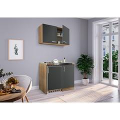 Mini keuken Levin 100 cm grijs met RVS kookplaat en hangkast