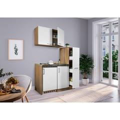 Mini keuken Levin 100 cm wit met RVS kookplaat en apothekerskast
