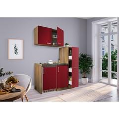 Mini keuken Levin 100 cm rood met RVS kookplaat en apothekerskast