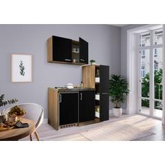 Mini keuken Levin 100 cm zwart met RVS kookplaat en apothekerskast