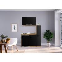 Respekta Mini keuken Levin 100 cm zwart met RVS kookplaat en apothekerskast