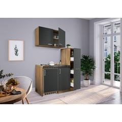 Mini keuken Levin 100 cm grijs met RVS kookplaat en apothekerskast
