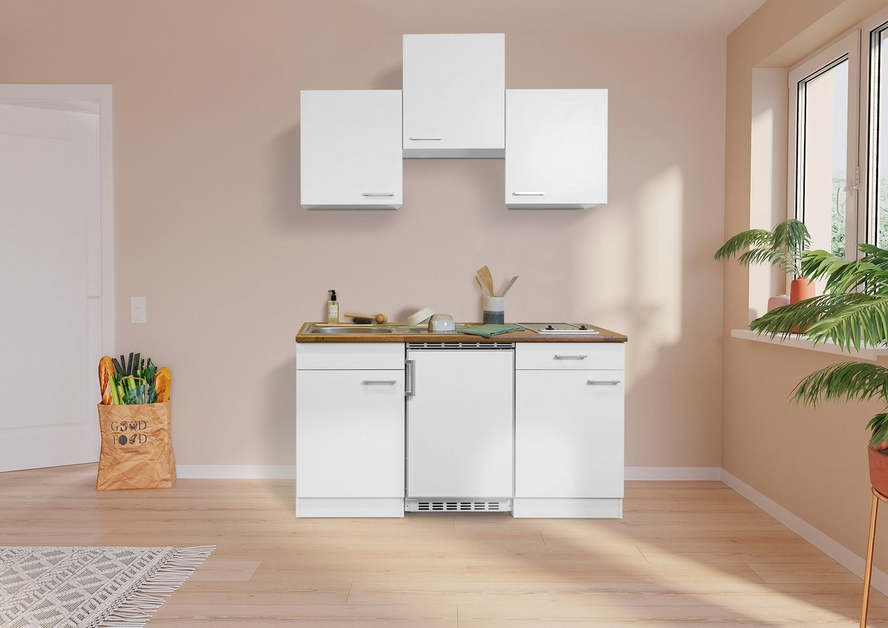 Respekta Keuken Luis met walnoot werkblad wit 150 cm