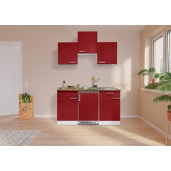 Keuken Luis met walnoot werkblad rood 150 cm