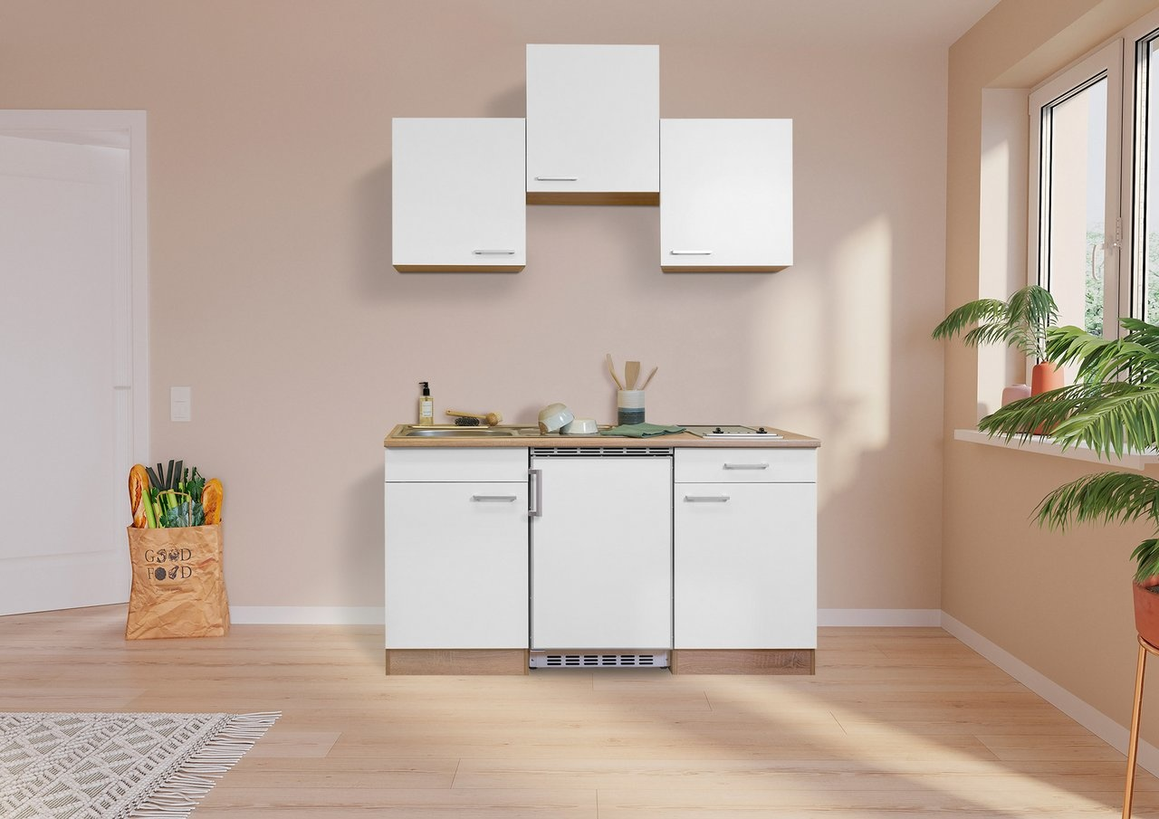 Respekta Keuken Luis met eiken werkblad wit 150 cm