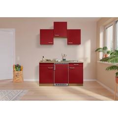 Keuken Luis met eiken werkblad rood 150 cm