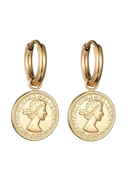 Earrings - Coin Hoops
